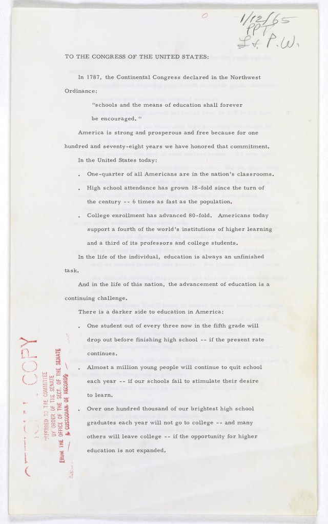 LBJ Special Message to Congress 01-1965