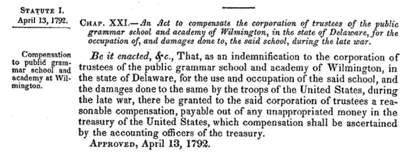 1792 Deleware school compensation act
