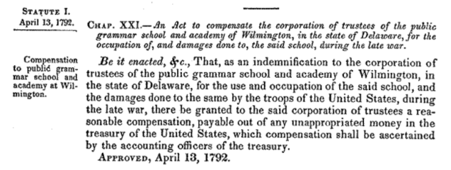 1792 Deleware school compensation act