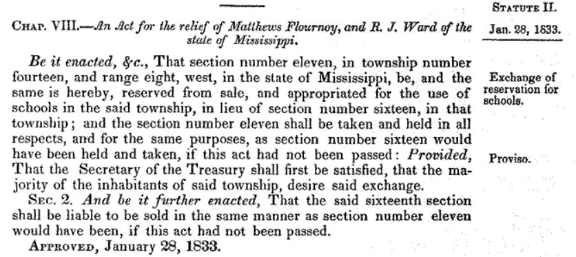 1833 Mississippi school land deal